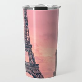 Pink View of Eiffel Tower Paris France Travel Mug