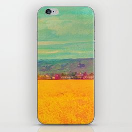 Teal Sky, Indigo Mountains, Mustard Plants, Colorful Houses iPhone Skin