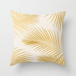 Metallic Gold Tropical Palm Fronds Throw Pillow