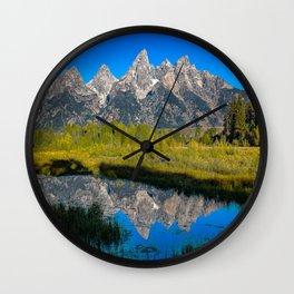 Grand Teton - Reflection at Schwabacher's Landing Wall Clock