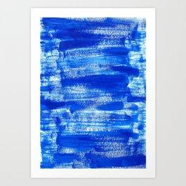 Cool & Calming Cobalt Blue Paint on White  Art Print
