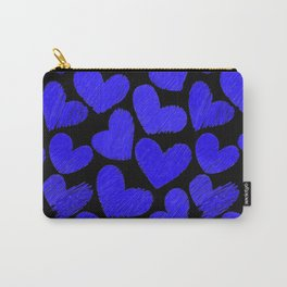 Sketchy hearts in dark blue and black Carry-All Pouch