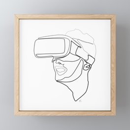 """""""Gaming Collection """" - Boy Wearing Virtual Reality Goggles Framed Mini Art Print"""