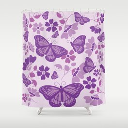 Monarch Blooms Shower Curtain