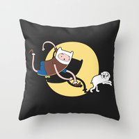tintin Throw Pillows featuring Adventure Tin by Moysche Designs