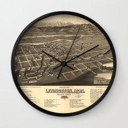 Bird's Eye View of Livingston, Montana (1883) Wall Clock
