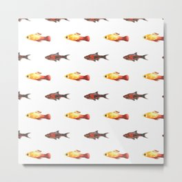 Watercolor fish pattern Metal Print