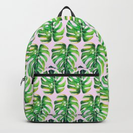 Watercolor tropical leaf X Backpack