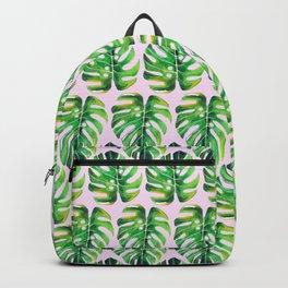 Watercolor tropical leaf X Backpack