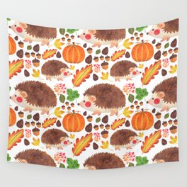 Autumn Hedgehog Wall Tapestry