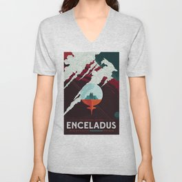 Visit Beautiful Southern ENCELADUS 100 Breathtaking Geysers! JPL Space Travel Poster Unisex V-Neck