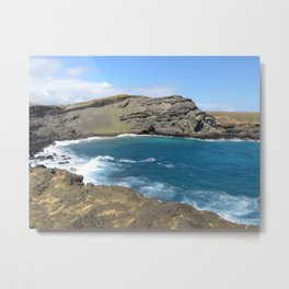 Green Beach and Turquoise Ocean Metal Print