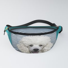 White Poodle Turquoise Window - Brick Wall Fanny Pack