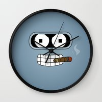 bender Wall Clocks featuring Bender Robot by OverClocked