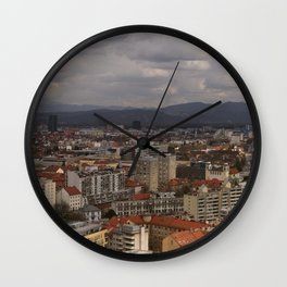 Over The Rooftops of Ljubljana Wall Clock