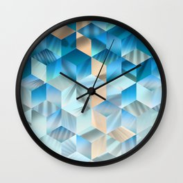 Smooth blue gradient cubes Wall Clock
