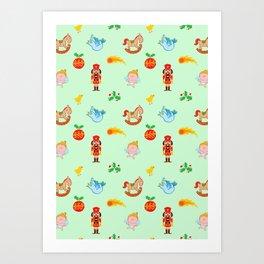 Nutcracker, rocking horse, angel and bird Christmas pattern Art Print