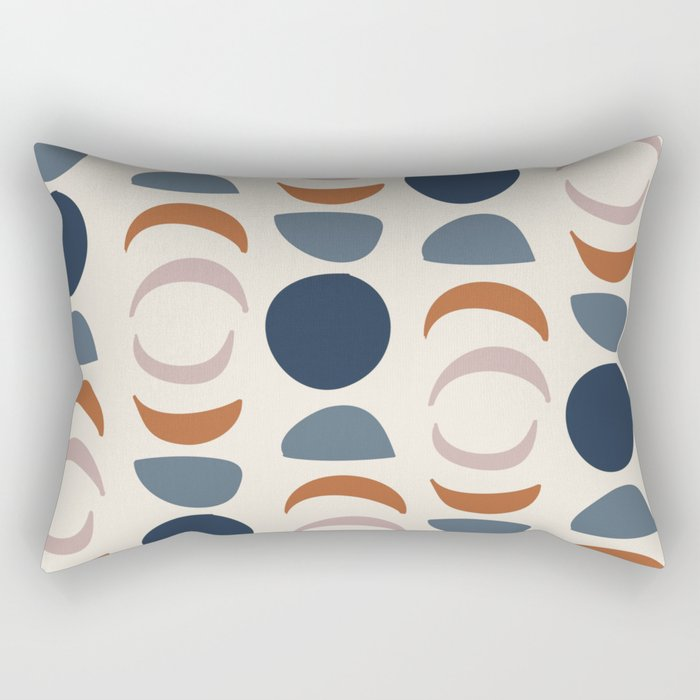 Moon Phases Pattern in blue, terracotta, pink Rectangular Pillow