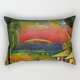 Beautiful African Village Scene Rectangular Pillow