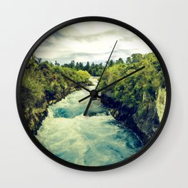 Spectacular Rushing River Rapids Through Tree-Covered Mountains Wall Clock