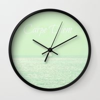 carpe diem Wall Clocks featuring Carpe Diem by RDelean