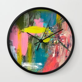 Collision - a bright abstract with pinks, greens, blues, and yellow Wall Clock