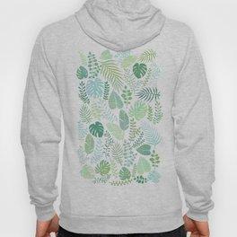 Green tropical leaves pattern Hoody