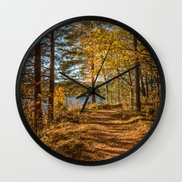 Beautiful path in the forest by a river in autumn mood Wall Clock