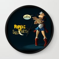 popeye Wall Clocks featuring Popeye the Sailor Moon by bluthan