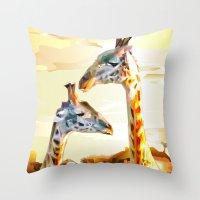 giraffes Throw Pillows featuring Giraffes by Eric Bassika