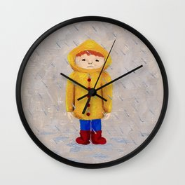 Boy In Rain Wall Clock