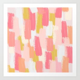 Pink and yellow Brush strokes print  Art Print