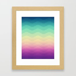 Abstract Geometric Rainbow Waves Pattern (Multi Color) Framed Art Print