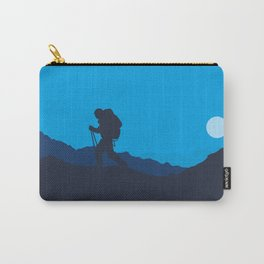 Hiker At Blue Winter Night Carry-All Pouch
