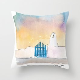 Santorini Blue Gate Sea Greece Throw Pillow
