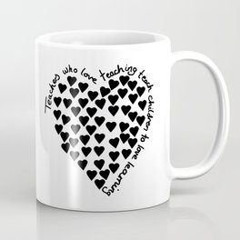 Hearts Heart Teacher Black on White Coffee Mug