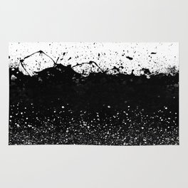 Black and White Splatter Theme Rug