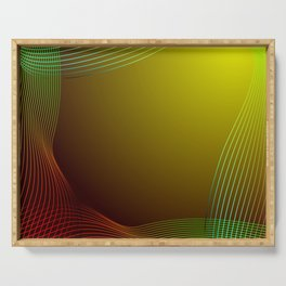 Greeting card of red and green lines on a yellow background. Serving Tray
