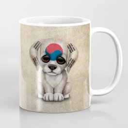 Cute Puppy Dog with flag of South Korea Coffee Mug