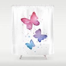 Butterflies Watercolor Abstract Splatters Shower Curtain
