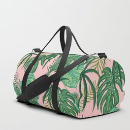 Tropical Green Leaves Foliage Nature Pattern Millennial Pink Background Duffle Bag