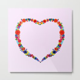 heart made of flowers on a pink background . Artwork Metal Print