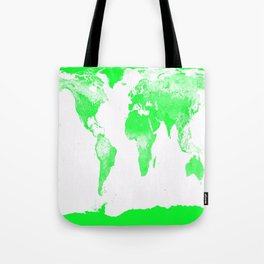 woRld Map Bright Green & White Tote Bag