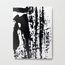 Blank: a minimal black and white linoprint Metal Print