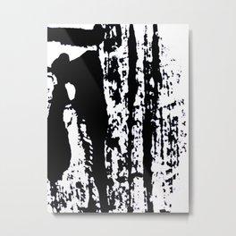 Blank: a minimal black and white linoprint Metal Print
