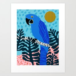 Steaz - memphis throwback tropical retro minimal bird art 1980s 80s style pattern parrot fashion Art Print