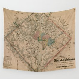 Vintage Washington DC Civil War Defenses Map (1864) Wall Tapestry