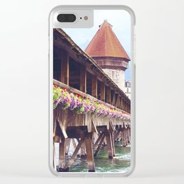 Swiss Wooden Bridge Clear iPhone Case