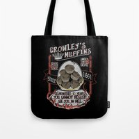 crowley Tote Bags featuring Crowley 's Muffins  - Supernatural by KanaHyde