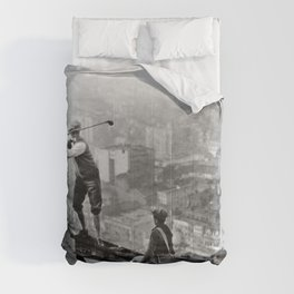 Tough Par Four - Golf Game at 1000 feet black and white photograph Comforters